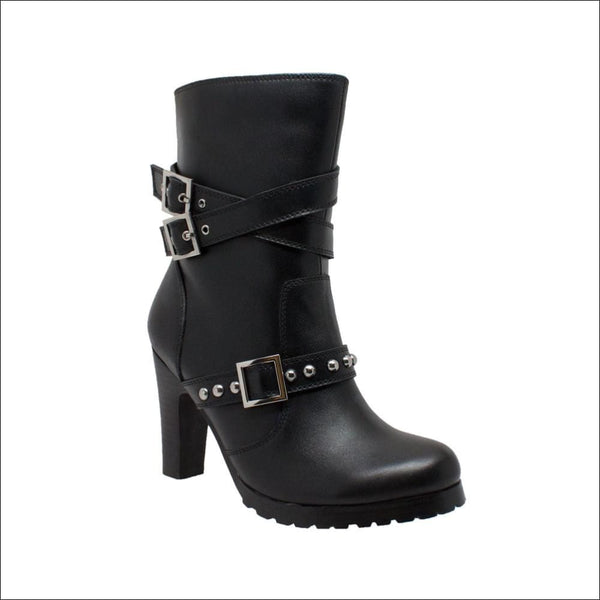 Womens 3-Buckle Boot with Heel - Women Motorcycle Boot