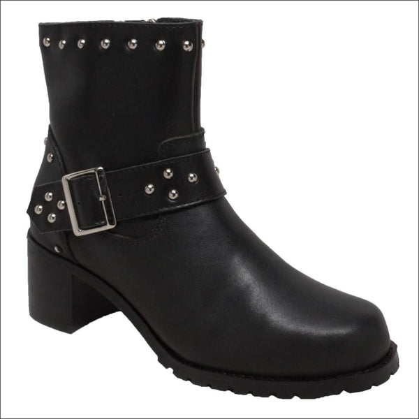 Womens 8 Heeled Buckle Biker Boot - Women Motorcycle Boot