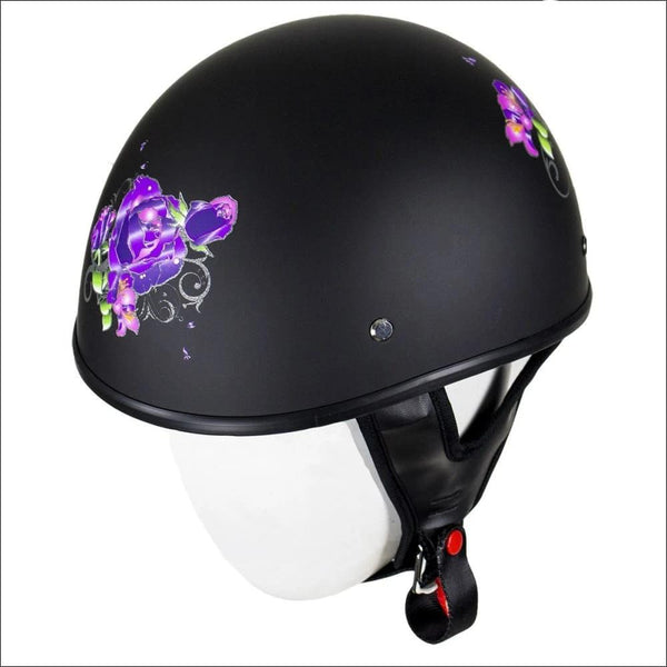 Womens Flat Black DOT Approved Helmet With Purple Rose Tribal Design - DOT Helmet