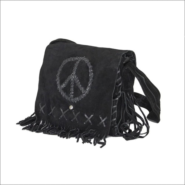 Womens Genuine Black Suede Pocketbook with Peace Sign - Womens Bag