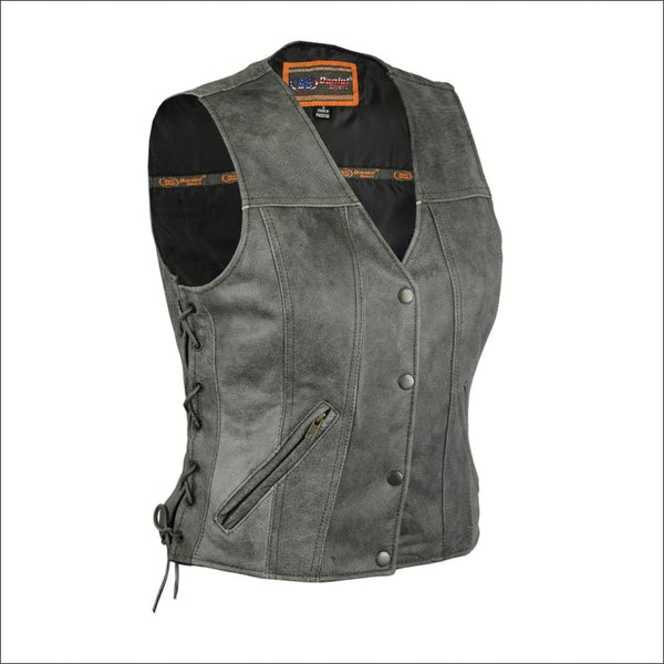 Womens Gray Single Back Panel Concealed Carry Ves - Womens Leather Concealed Carry Vest