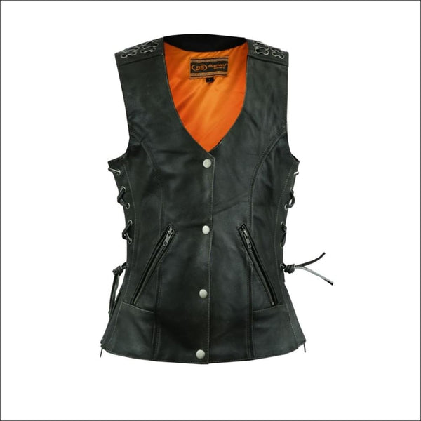 Womens Gray Vest with Grommet and Lacing Accents - Womens Leather Vest