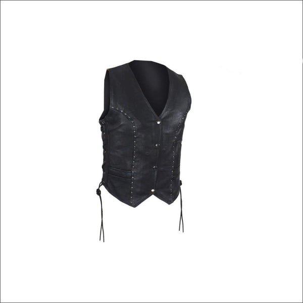 Womens Leather Motorcycle Studded Vest - Womens Leather Vest