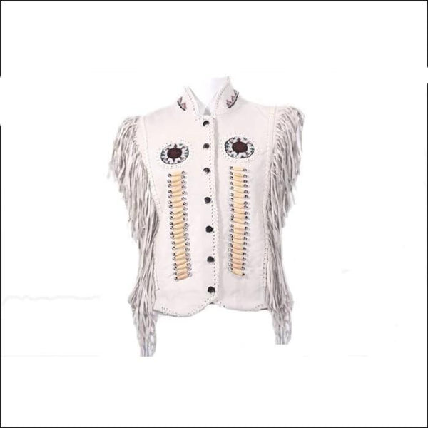 Womens Leather Snap Up Vest With Bones & Beads - Womens Leather Motorcycle Vest