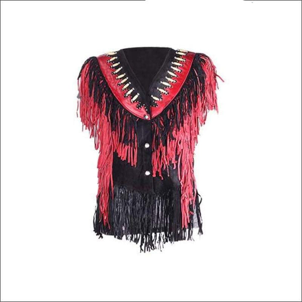 Womens Leather Vest with Black & Red Fringes - Womens Leather Motorcycle Vest