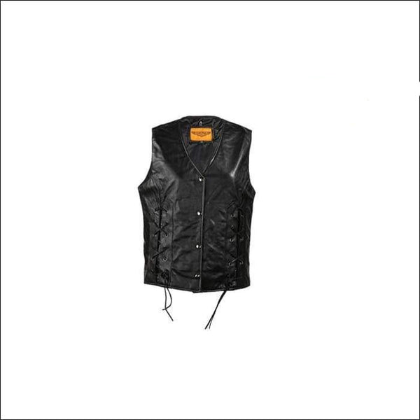 Womens Leather Vest With Laces In The Front - Womens Leather Vest