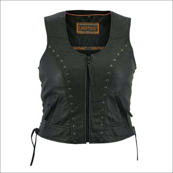 Womens Lightweight Vest with Rivets Detailing - DS244 Womens Stylish Open Neck Zipper Front Vest