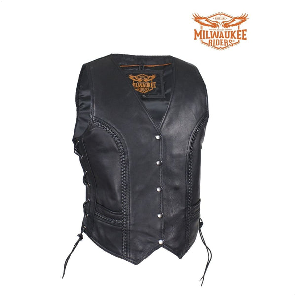 Womens Longer Motorcycle Vest With Braid By Milwaukee Riders - Womens Leather Motorcycle Vest