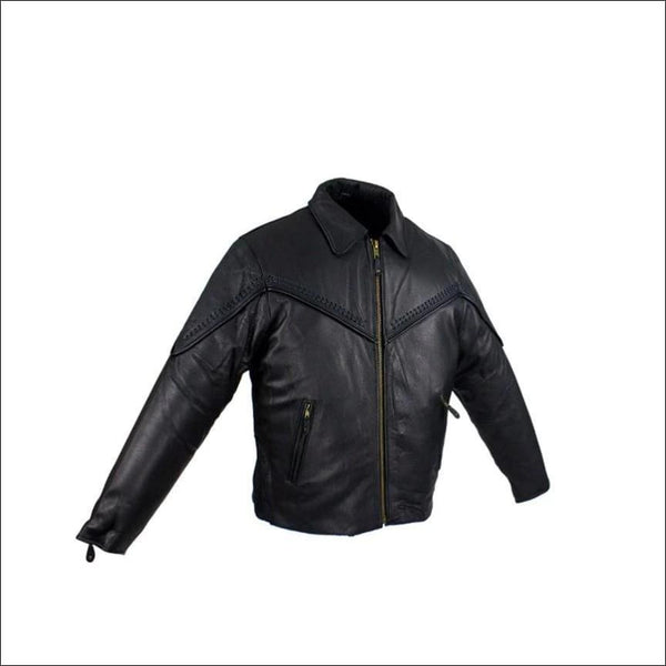 Womens Motorcycle Jacket With Fashionable Flat Braid - Womens Leather Motorcycle Jacket