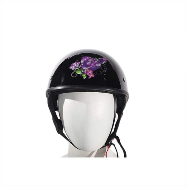 Womens Shiny Black DOT Approved Motorcycle Helmet W/ Purple Rose Design - DOT Helmet