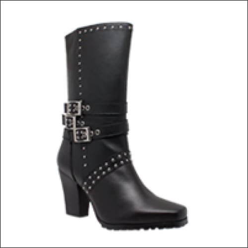 Womens Side Zipper Harness Boot - Women Motorcycle Boot