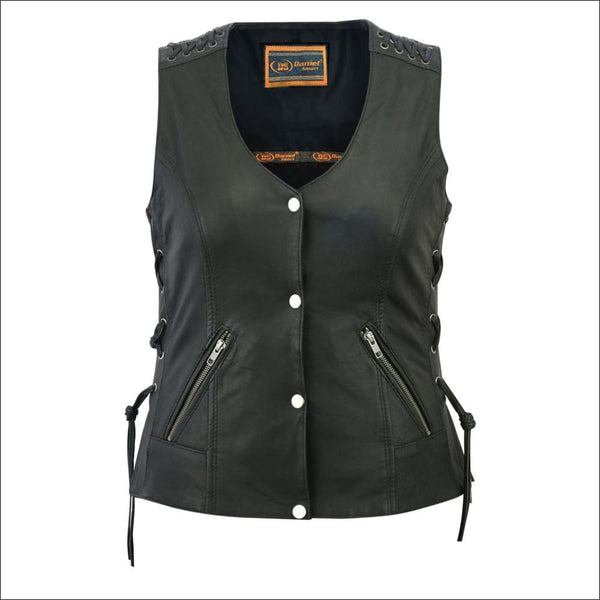 Womens Vest with Grommet and Lacing Accents - DS285 Womens Vest with Grommet and Lacing Accents