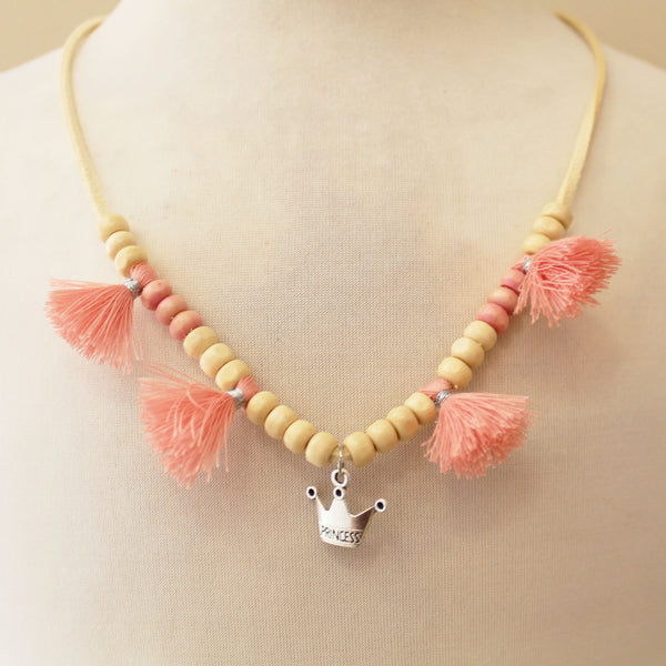 Collar Natural Princess flecos coral