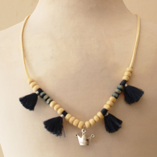 Collar Natural princess flecos azul