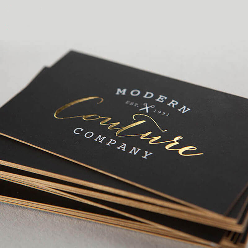 Foiled business cards with gold coloured edges