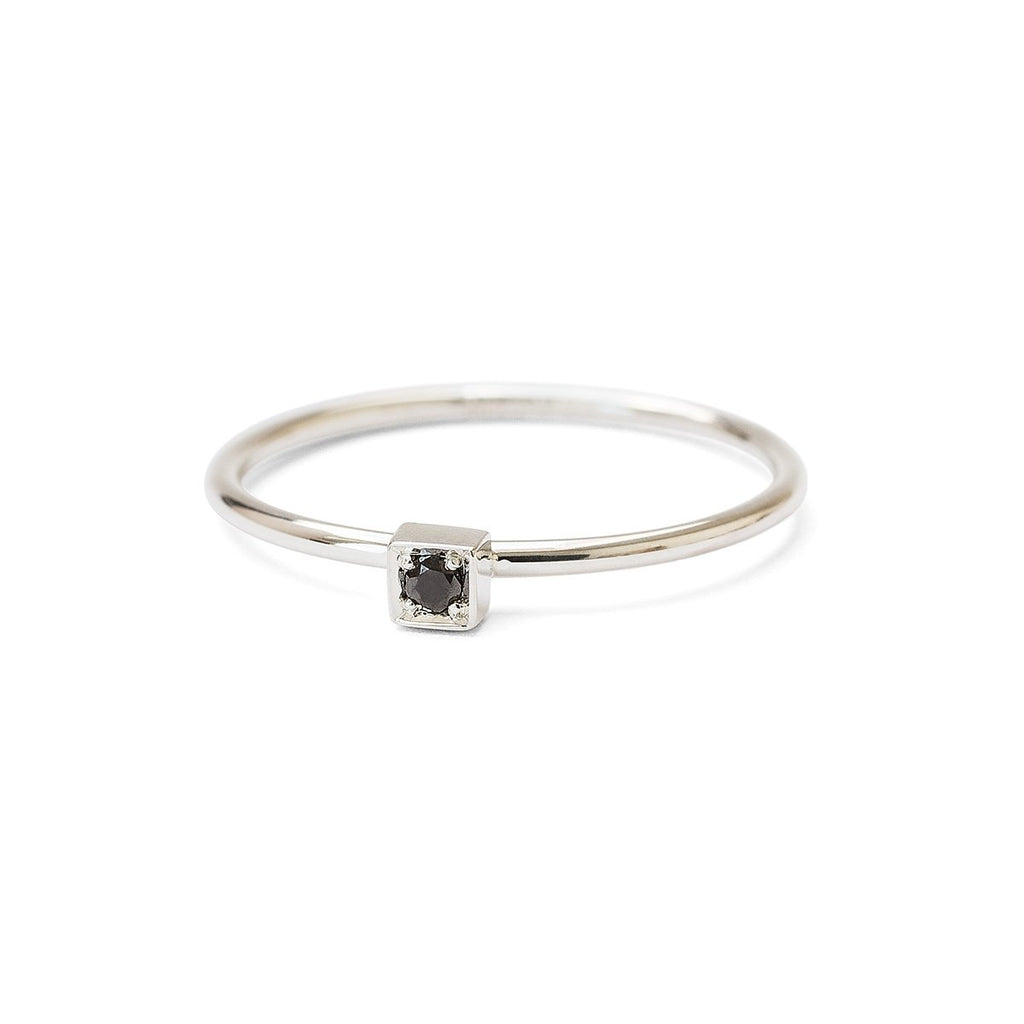 Square - black diamond ring