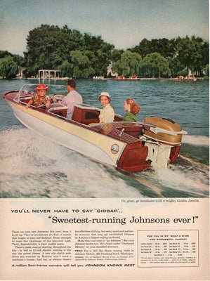 Vintage 1957 Johnson Sea Horse Boat Ad
