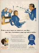 Vintage 1944 Pabst Blue Ribbon Mrs Carruthers Bowling Beer Ad