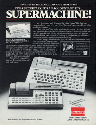 Vintage 1983 Sharp Supermachine EL-7100 Memowriter Ad