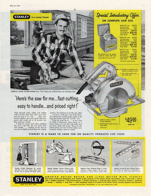 Vintage 1959 Stanley Saw Power Tools Ad
