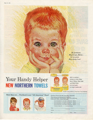 Vintage 1961 Northern Paper Towels Red Head Boy Ad