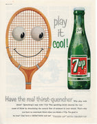 Vintage 1958 Play It Cool 7up Tennis Racket Ad