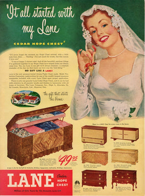 Vintage 1949 Lane Cedar Hope Chest Bride Ad