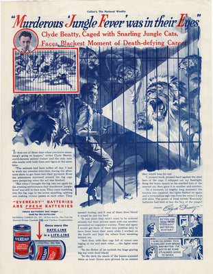 Vintage 1938 Eveready Batteries Clyde Beatty Lion Tamer Ad