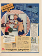 Vintage 1940 Westinghouse Refrigerator Tru Zone Cold Ad