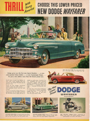Vintage 1949 Dodge Wayfarer Green Car Ad