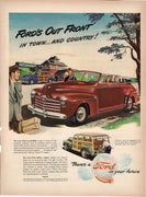 Vintage 1946 Ford Red Convertible & Station Wagon Car Ad