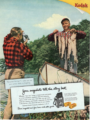 Vintage 1951 Kodak Camera & Film Fishing Boat Ad