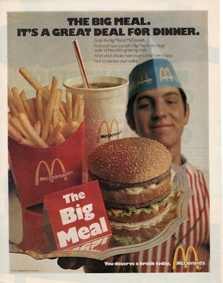 Vintage 1971 McDonald's Big Meal Big Mac & Fries Ad