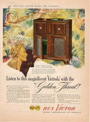Vintage 1946 Victor 59V1 Radio Phonograph Golden Throat Ad