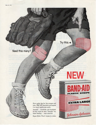 1960 Johnson & Johnson Band Aid Extra Large Strips Ad