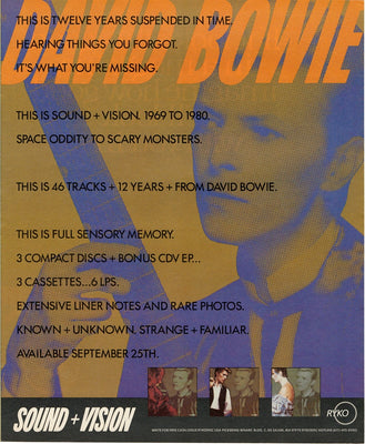Vintage 1989 David Bowie 1969 - 1980 CD Cassette Ad