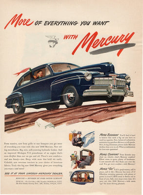 Vintage 1946 Mercury Blue Car Ad