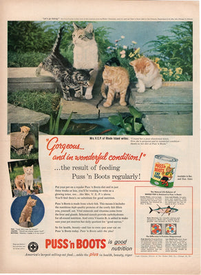 Vintage 1957 Puss N Boots Cat & Kitten Food Ad