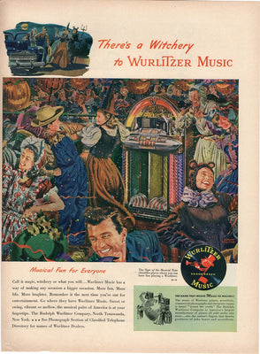 Vintage 1947 Wurlitzer Music Jukebox Halloween Witchery Ad