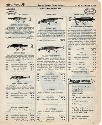 Vintage 1940 Creek Chub & Millsite Fishing Lure Ad