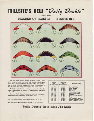 Vintage 1941 Millsite Daily Double Fishing Lure and Line Drier Ad