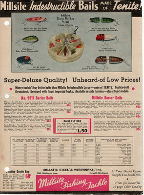 Vintage 1939 Millsite Indestructible Baits Made Of Tenite Fishing Lure Ad