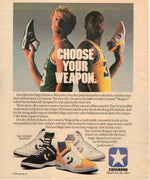 Vintage 1986 Converse Weapon Shoes With Larry Bird & Magic Johnson Ad