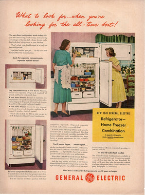 Vintage 1949 General Electric GE Refrigerator Home Freezer Ad