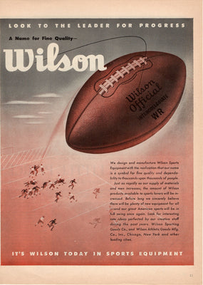 Vintage 1945 Wilson Official Intercollegiate Football Ad