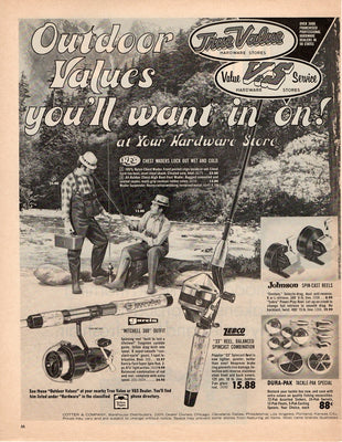 Vintage 1971 Tru Value Garcia, Johnson, & Zebco Reel & Fishing Equipment Ad