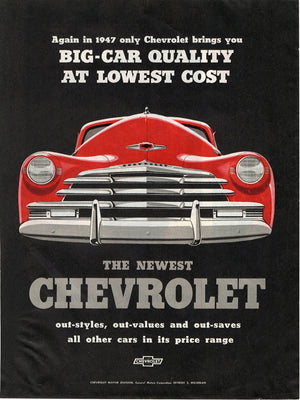 Vintage 1947 Red Chevrolet Car Ad