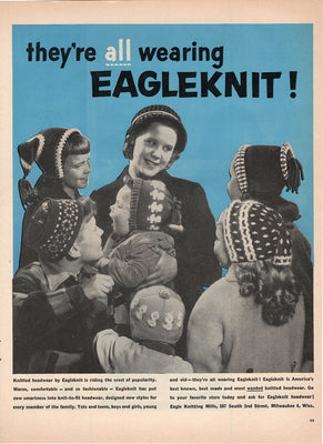 Vintage 1955 Eagleknit Knitted Headwear Ad