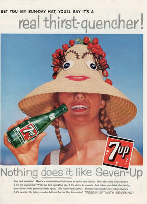 Vintage 1958 7up Sunday Hat Soda Ad
