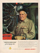 Vintage 1949 American Airlines Ground Commander Mechanic Ad